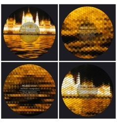 Set of 4 music album cover templates Night city vector image