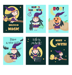 set of cards with cute little halloween vector image