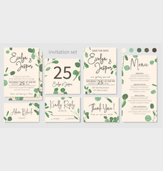 Set of wedding invitations floral invitations vector