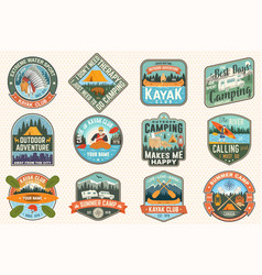 Set summer camp canoe and kayak club badges vector