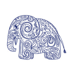 Sketch of doodle ethnic elephant vector