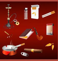 Smoking tobacco addiction set vector