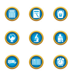 Special school icons set flat style vector