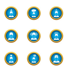 state of health icons set flat style vector image