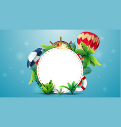 summer banner template design with a white circle vector image