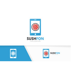 sushi and phone logo combination japanese vector image
