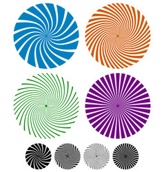 Swirling lines rays in circles vector