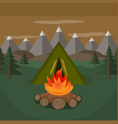 tent camp near the mountains vector image
