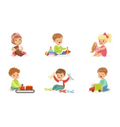 Toddlers play with different toys vector