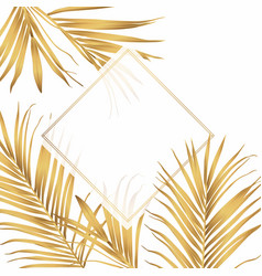 tropical palm leaves card template vector image