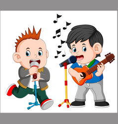 two man playing guitar and singing vector image