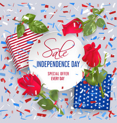 Usa independence day sale card with confetti vector