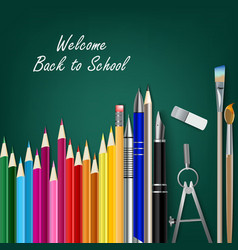 Welcome back to school with teaching aids vector