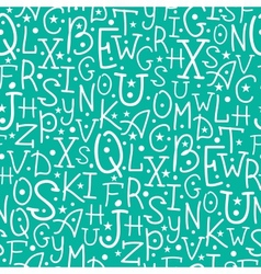 White on green alphabet letters seamless pattern vector