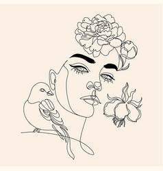 Woman face with flowers line drawing vector