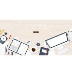 Workplace table with vector image