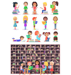 boys girls with books isolated children infants vector image