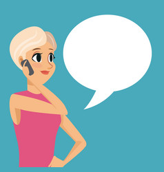 Cartoon girl smartphone talk bubble speech vector