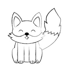 cute sketch fox cartoon vector image vector image
