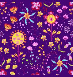 Floral summer pattern in graphyc style vector