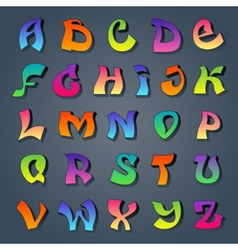Graffiti alphabet colored vector image