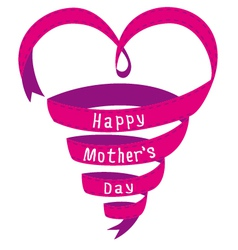 Happy mothers day card heart shaped ribbon vector image