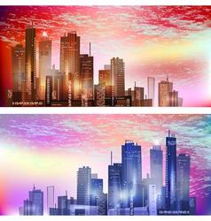 Modern City landscape in sunset vector image vector image