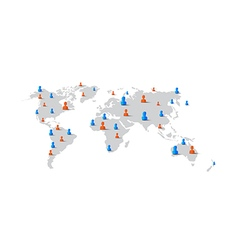People man woman element on world map network vector image vector image