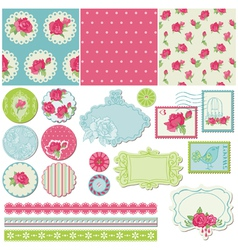 Scrapbook Design Elements - Rose Flowers vector image vector image
