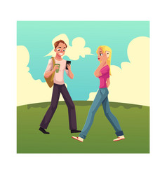 young man and woman using smartphone mobile phone vector image vector image