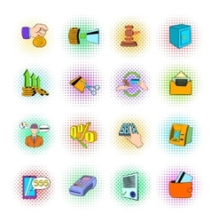 Bank icons set pop-art style vector image