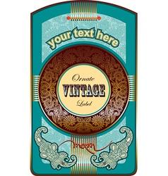 circle ornate floral vintage label vector image