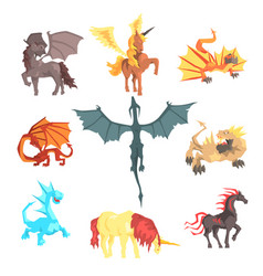 mythical and fantastic creatures set for label vector image