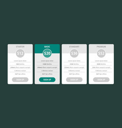 pricing table template pricing plans vector image