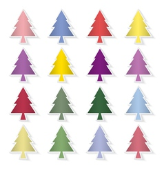 Set of colorful pine trees vector image vector image