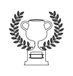 silhouette monochrome trophy cup with olive crown vector image