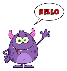 happy cute monster with speech bubble vector image vector image