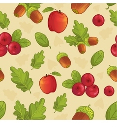 Background with acorn leaf berry apple vector image