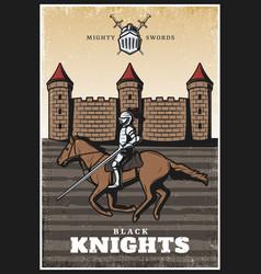 colorful vintage medieval poster vector image