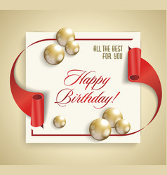 happy birthday banner with red ribbon and golden vector image vector image