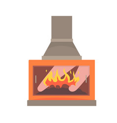 modern gas or electric fireplace vector image
