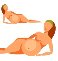 Stylized silhouette of pregnant woman vector image vector image