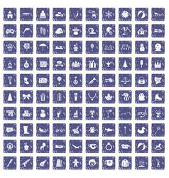 100 children icons set grunge sapphire vector