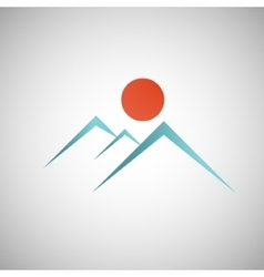 Abstract mountain with the sun on background vector