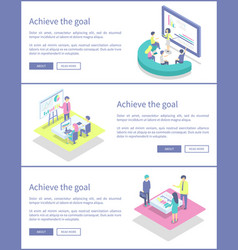 Achieve goal posters info set vector