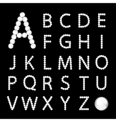 Alphabet made from white pearls for your design vector image