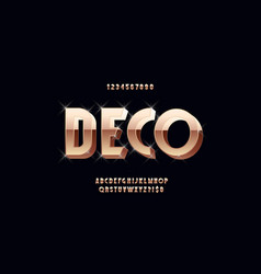 art deco 3d bold font vintage typography vector image