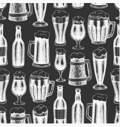 beer glass mug seamless pattern hand drawn pub vector image