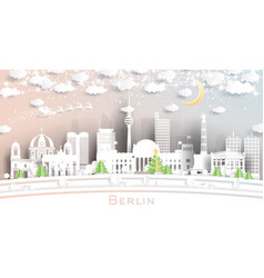 Berlin germany city skyline in paper cut style vector