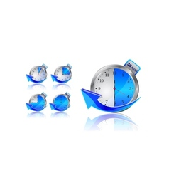 blue timer clocks with arrows vector image